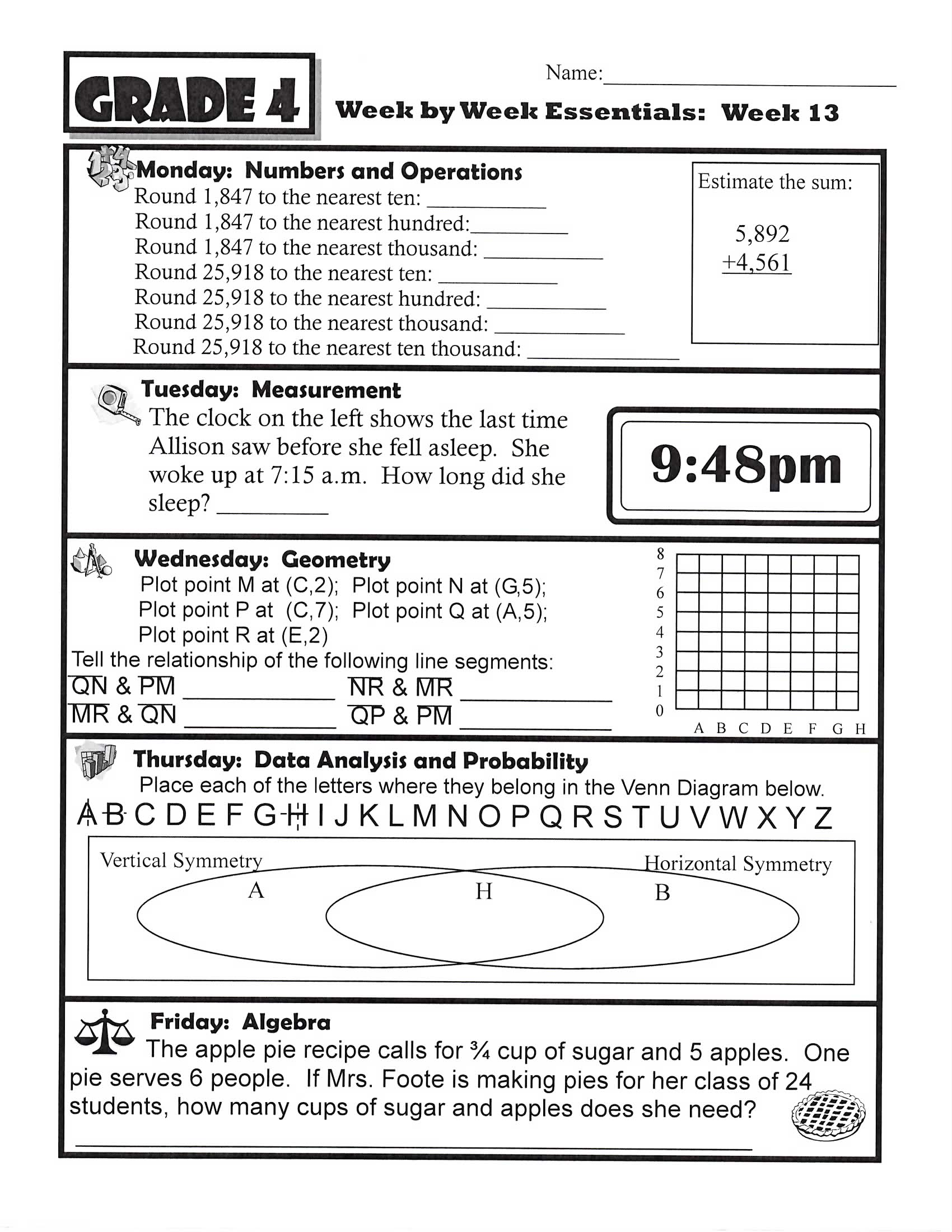 Math Homework Worksheets : Math mrs foote s science gifted middle